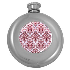 Damask1 White Marble & Red Leather (r) Round Hip Flask (5 Oz) by trendistuff