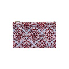 Damask1 White Marble & Red Leather (r) Cosmetic Bag (small)  by trendistuff