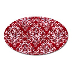 Damask1 White Marble & Red Leather Oval Magnet by trendistuff