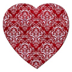 Damask1 White Marble & Red Leather Jigsaw Puzzle (heart)