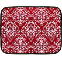 Damask1 White Marble & Red Leather Double Sided Fleece Blanket (mini)  by trendistuff