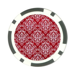 Damask1 White Marble & Red Leather Poker Chip Card Guard (10 Pack) by trendistuff