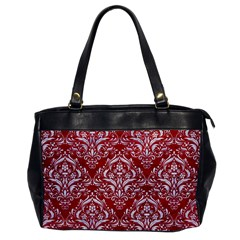 Damask1 White Marble & Red Leather Office Handbags by trendistuff