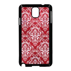 Damask1 White Marble & Red Leather Samsung Galaxy Note 3 Neo Hardshell Case (black) by trendistuff