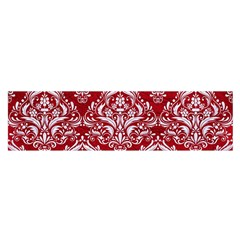 Damask1 White Marble & Red Leather Satin Scarf (oblong) by trendistuff