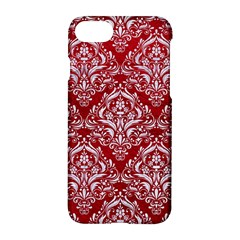 Damask1 White Marble & Red Leather Apple Iphone 8 Hardshell Case by trendistuff