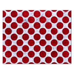 Circles2 White Marble & Red Leather (r) Rectangular Jigsaw Puzzl by trendistuff