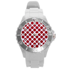 Circles2 White Marble & Red Leather (r) Round Plastic Sport Watch (l) by trendistuff