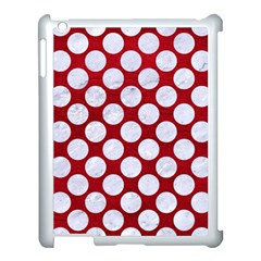 Circles2 White Marble & Red Leather Apple Ipad 3/4 Case (white) by trendistuff