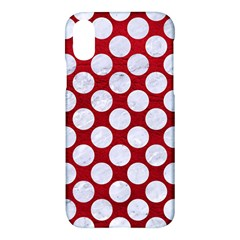 Circles2 White Marble & Red Leather Apple Iphone X Hardshell Case