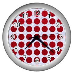 Circles1 White Marble & Red Leather (r) Wall Clocks (silver)  by trendistuff