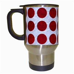 Circles1 White Marble & Red Leather (r) Travel Mugs (white) by trendistuff