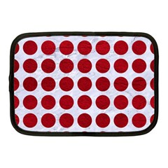 Circles1 White Marble & Red Leather (r) Netbook Case (medium)  by trendistuff