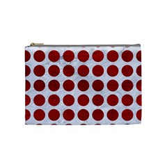 Circles1 White Marble & Red Leather (r) Cosmetic Bag (medium)  by trendistuff
