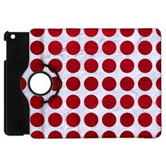 Circles1 White Marble & Red Leather (r) Apple Ipad Mini Flip 360 Case by trendistuff