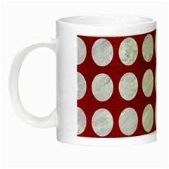 Circles1 White Marble & Red Leather Night Luminous Mugs by trendistuff