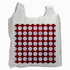 Circles1 White Marble & Red Leather Recycle Bag (two Side)  by trendistuff