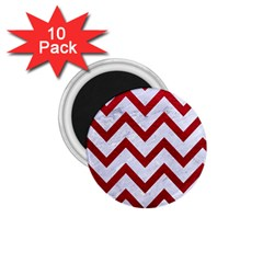 Chevron9 White Marble & Red Leather (r) 1 75  Magnets (10 Pack)