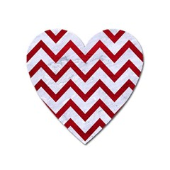 Chevron9 White Marble & Red Leather (r) Heart Magnet by trendistuff
