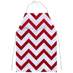 Chevron9 White Marble & Red Leather (r) Full Print Aprons by trendistuff