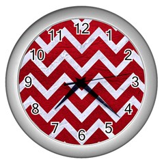 Chevron9 White Marble & Red Leather Wall Clocks (silver)  by trendistuff