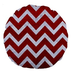Chevron9 White Marble & Red Leather Large 18  Premium Round Cushions by trendistuff