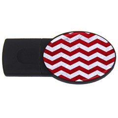 Chevron3 White Marble & Red Leather Usb Flash Drive Oval (4 Gb) by trendistuff