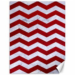 Chevron3 White Marble & Red Leather Canvas 12  X 16   by trendistuff