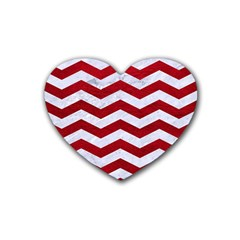 Chevron3 White Marble & Red Leather Heart Coaster (4 Pack)  by trendistuff