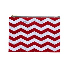 Chevron3 White Marble & Red Leather Cosmetic Bag (large)  by trendistuff