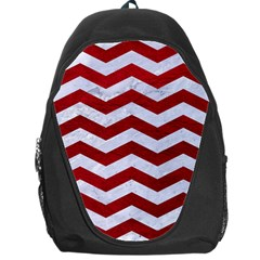Chevron3 White Marble & Red Leather Backpack Bag by trendistuff