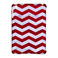 Chevron3 White Marble & Red Leather Apple Ipad Mini Hardshell Case (compatible With Smart Cover) by trendistuff