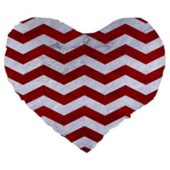 Chevron3 White Marble & Red Leather Large 19  Premium Flano Heart Shape Cushions by trendistuff