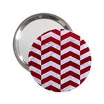 CHEVRON2 WHITE MARBLE & RED LEATHER 2.25  Handbag Mirrors Front