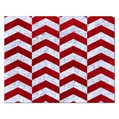 Chevron2 White Marble & Red Leather Rectangular Jigsaw Puzzl by trendistuff