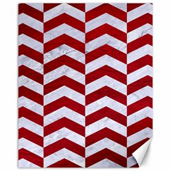 Chevron2 White Marble & Red Leather Canvas 16  X 20   by trendistuff