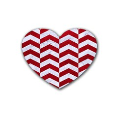 Chevron2 White Marble & Red Leather Heart Coaster (4 Pack)  by trendistuff
