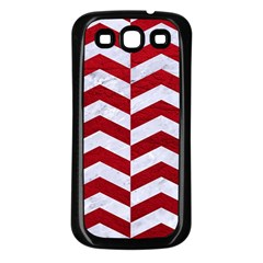 Chevron2 White Marble & Red Leather Samsung Galaxy S3 Back Case (black) by trendistuff