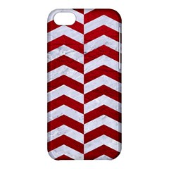 Chevron2 White Marble & Red Leather Apple Iphone 5c Hardshell Case by trendistuff