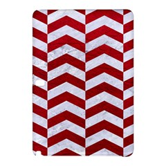 Chevron2 White Marble & Red Leather Samsung Galaxy Tab Pro 12 2 Hardshell Case by trendistuff