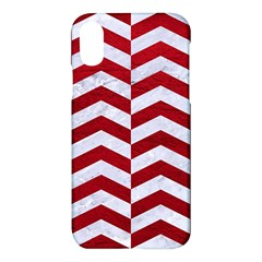 Chevron2 White Marble & Red Leather Apple Iphone X Hardshell Case