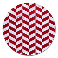 Chevron1 White Marble & Red Leather Magnet 5  (round) by trendistuff