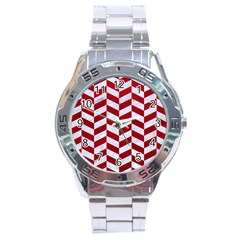Chevron1 White Marble & Red Leather Stainless Steel Analogue Watch by trendistuff