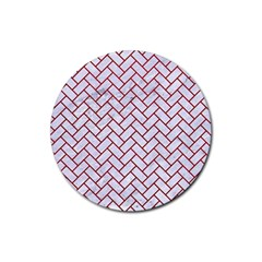 Brick2 White Marble & Red Leather (r) Rubber Coaster (round)