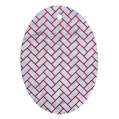 Brick2 White Marble & Red Leather (r) Oval Ornament (two Sides)