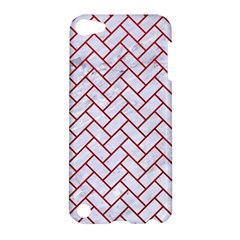 Brick2 White Marble & Red Leather (r) Apple Ipod Touch 5 Hardshell Case