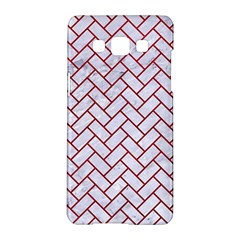 Brick2 White Marble & Red Leather (r) Samsung Galaxy A5 Hardshell Case  by trendistuff
