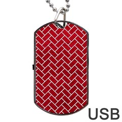 Brick2 White Marble & Red Leather Dog Tag Usb Flash (one Side) by trendistuff