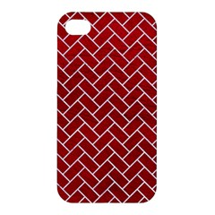 Brick2 White Marble & Red Leather Apple Iphone 4/4s Hardshell Case by trendistuff