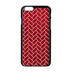 Brick2 White Marble & Red Leather Apple Iphone 6/6s Black Enamel Case